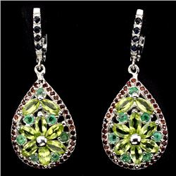 Natural Peridot Emerald Garnet Sapphire Earrings