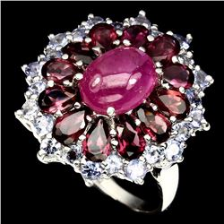 Natural Red/Pink Ruby Garnet Tanzanite 26 Carats Ring