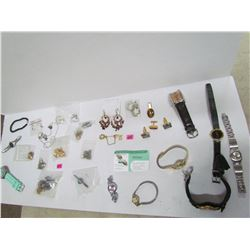 Unidentified Earings, Watches, and Cufflinks