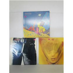 """3 Excellent Condition """"Rolling Stones"""" Records (Except 1 is missing zipper) (See pictures for titles"""