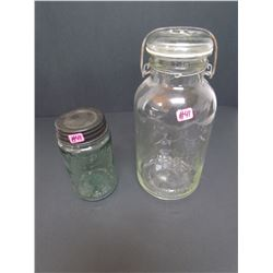 """Perfect Seae wide mouth adjustable Jar """"ERROR JAR""""  and  Reproduction Masons Patent 1858 Pt. Jar"""