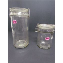 1 Tall Qt and 1 Short Pt  Victory Clear Jars with snap lids