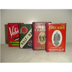 4 different tobacco pocket tins