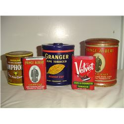 5 different old tobacco tins