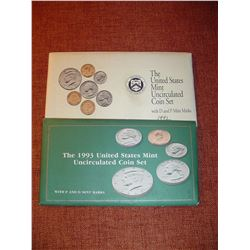1992 and1993 uncirculated US coin sets P+D mints