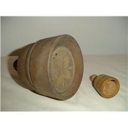 2 round wooden butter presses lge. and sm.