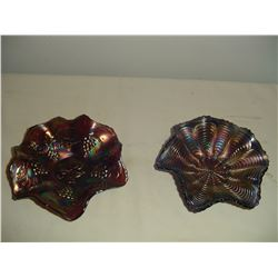 2 pieces colored carnival glass purple and green