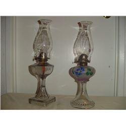 2 nice old #2 coal oil lamps