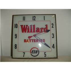 1950's Willard battery advertising clock 15 inch working