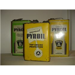 3 1 gallon Pyroil oil tins