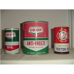 3 different Co-op oil and anti-freeze tins