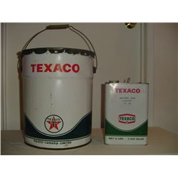 2 Texaco containers 5 gallon oil and 25 lb grease