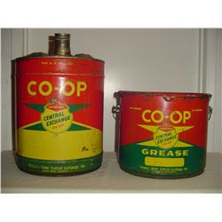 Co-op 5 gallon oil and 25 lb grease pails