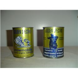 2 Golden Spectro oil tins motorcycle and snowmobile