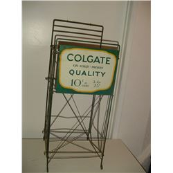 old country store colgate soap display stand with sign