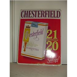 tin Chesterfield cigarette sign