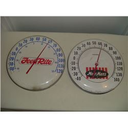 2-12 inch round feed advertising thermometers