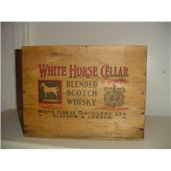 old wooden crate White Horse scotch whiskey