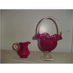 cranberry glass pitcher and basket