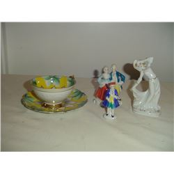 3 occupied japan figurines and tea cup and saucer