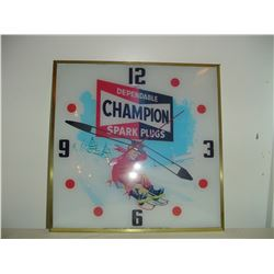 15 inch square champion spark plug advertising clock-was working not at the moment