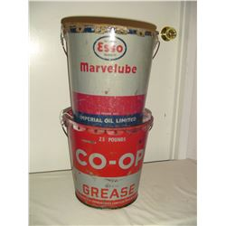 2-25lb co-op and marvelube grease pails