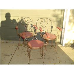 3 ,wire ice cream parlor chairs with arms