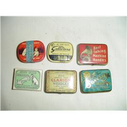 collection 6 phonograph needle tins