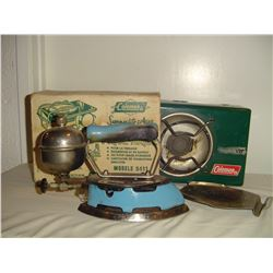 blue coleman iron and single burner camp stove in original box