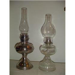 2 coal-oil lamps ,1 metal and 1,glass