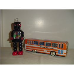2 tin toys robot and bus
