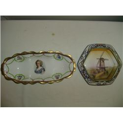 2 hand painted bowls nippon and mz austria