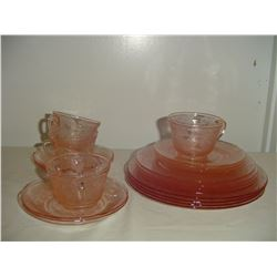 partial set pink depression dishes