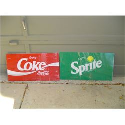 plastic coke and sprite sign