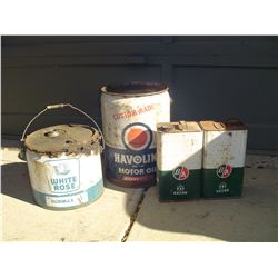 4 oil tins and pails BA ,white rose etc.