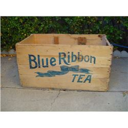 large wooden 100 lb tea crate