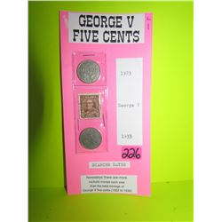 George V 5cent- 1923 (two scsrcer dates)