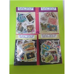 4- 100 stamp pkgs more than 400 stamps very nice assortment (Canada/US/Worldwide)