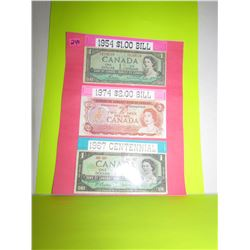Canadian Bank Notes 1954- $1.00/ 1974- $2.00/ 1967 Centennial Year- $1.00