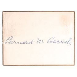 BERNARD M. BARUCH Autographed Signed Card