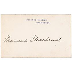 1887-Dated FRANCIS F CLEVELAND Autographed - Executive Mansion Washington Card