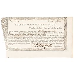 1780 PETER COLT Signed Connecticut Revolutionary War Service Pay Order