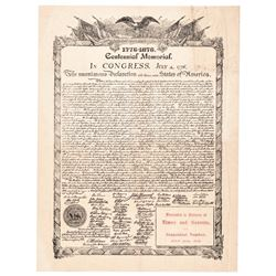 Broadside/Poster Titled: 1776-1876 Centennial Memorial - Declaration of Independ