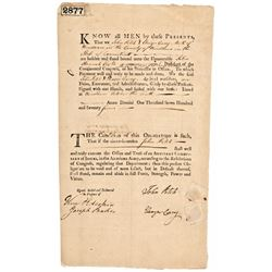 1777-Dated, JOHN FITCH Signed Document Inventor, Granted First Steamship Patent