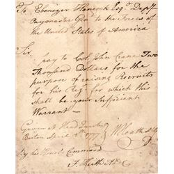 1777 WILLIAM HEATH Continental Army Major General Signed Recruiting Pay Letter