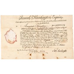 SAMUEL HUNTINGTON Continental Congress President + Dec. of Independence Signer