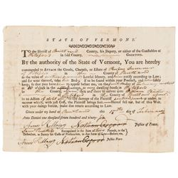 Legal Document Signed by Vermont Revolutionary War Patriot AMOS KELLOGG