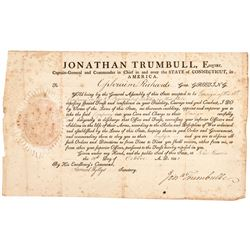 1802 Governor JONATHAN TRUMBULL Signed Connecticut Military Commission