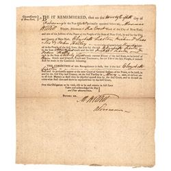 MARINUS WILLETT, Document Signed Twice 1788 Leader of the Sons of Liberty