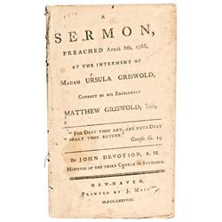 SERMON New Haven AMERICAN Imprint 1788 RARE Bible Christian Griswold DEVOTION